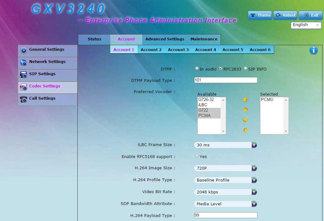 GXV3240 Codecs